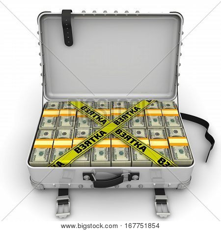 Bribe. Suitcase full of money. A suitcase filled with bundles of US dollars and yellow tapes with text