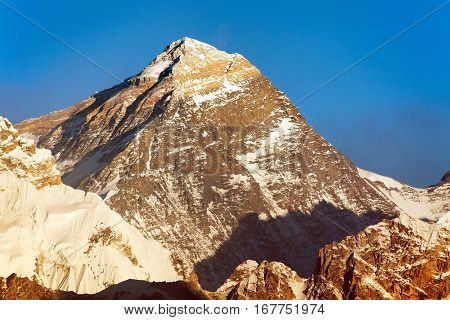 Evening panoramic view of mount Everest with blue sky from Gokyo valley - Everest area Khumbu valley Nepal