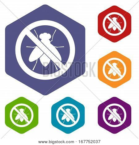 No fly sign icons set rhombus in different colors isolated on white background