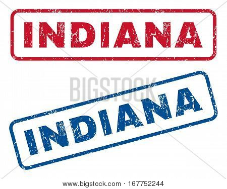 Indiana text rubber seal stamp watermarks. Vector style is blue and red ink caption inside rounded rectangular banner. Grunge design and scratched texture. Blue and red emblems.