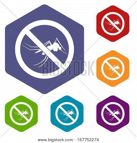 No mosquito sign icons set rhombus in different colors isolated on white background