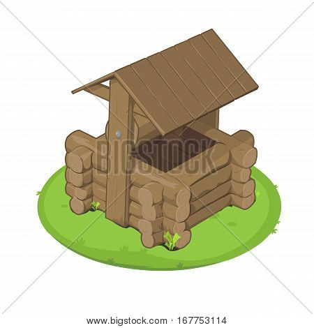 Vector illustration rural water well. Wooden well with roof. Well icon