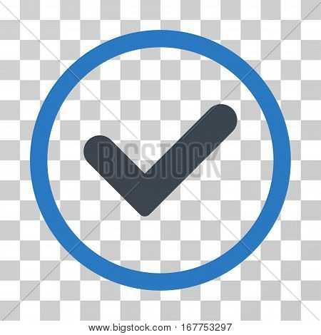 Yes rounded icon. Vector illustration style is flat iconic bicolor symbol inside a circle, smooth blue colors, transparent background. Designed for web and software interfaces.