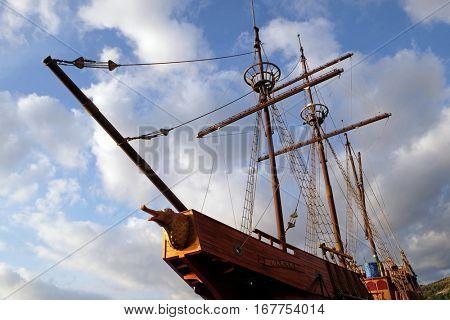 DUBROVNIK, CROATIA - NOVEMBER 30: Motor sailboat Karaka in port of Dubrovnik, Croatia. Replica of 16th c. sailing vessel karaka type, provides cruises around Dubrovnik, Croatia on November 30, 2015.