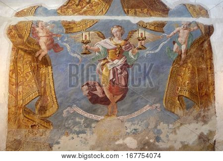 KRAPINA, CROATIA - APRIL 21: Allegory grace of speech and grace of silence, of Ivan Krstitelj Ranger, fresco  in the church of Saint Catherine of Alexandria in Krapina, Croatia on April 21, 2016.