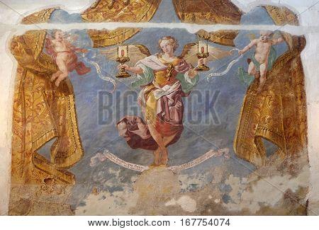 KRAPINA, CROATIA - APRIL 21: Allegory grace of speech and grace of silence, of Ivan Krstitelj Ranger, fresco  in the church of Saint Catherine of Alexandria in Krapina, Croatia on April 21, 2016.