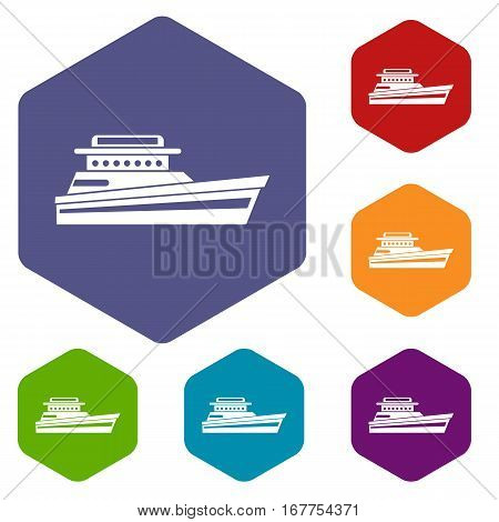 Great powerboat icons set rhombus in different colors isolated on white background