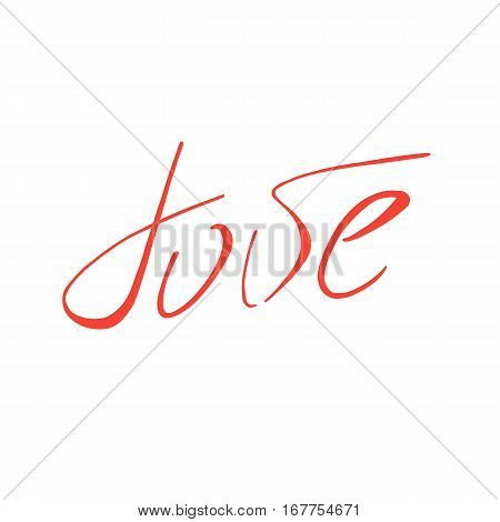 Handwriting Love. Vintage hand drawn background. Hand write vector text. Modern red lettering logo