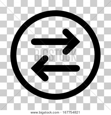 Flip Horizontal rounded icon. Vector illustration style is flat iconic symbol inside a circle, black color, transparent background. Designed for web and software interfaces.
