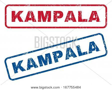 Kampala text rubber seal stamp watermarks. Vector style is blue and red ink caption inside rounded rectangular shape. Grunge design and dust texture. Blue and red emblems.