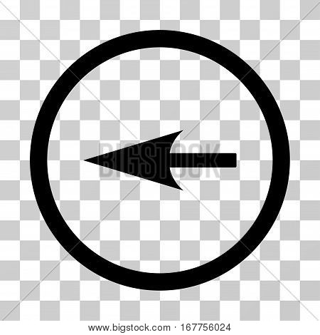 Sharp Left Arrow rounded icon. Vector illustration style is flat iconic symbol inside a circle, black color, transparent background. Designed for web and software interfaces.