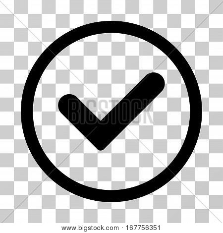 Yes rounded icon. Vector illustration style is flat iconic symbol inside a circle, black color, transparent background. Designed for web and software interfaces.