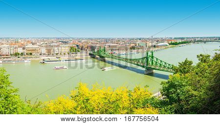 Budapest, Hungary - June 15, 2016: Dunabe River With Well-known Liberty Bridge Connecting Buda And P