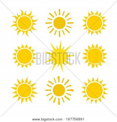 Yellow sun icon set isolated on white background. Modern simple flat sunlight, sign. Trendy vector summer symbol for website design, web button, mobile app. Stock illustration