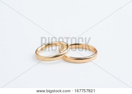 Close up of a wedding bands on white  background