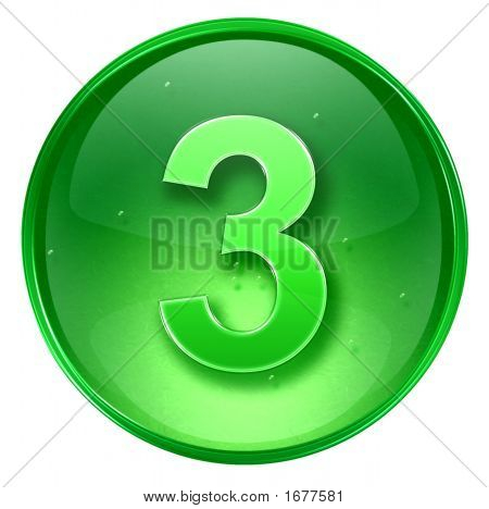 Number Three Icon. With Clipping Path