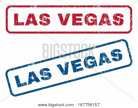 Las Vegas text rubber seal stamp watermarks. Vector style is blue and red ink tag inside rounded rectangular shape. Grunge design and unclean texture. Blue and red signs.