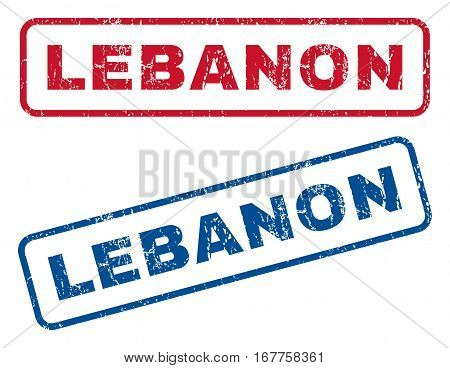 Lebanon text rubber seal stamp watermarks. Vector style is blue and red ink tag inside rounded rectangular banner. Grunge design and dirty texture. Blue and red stickers.