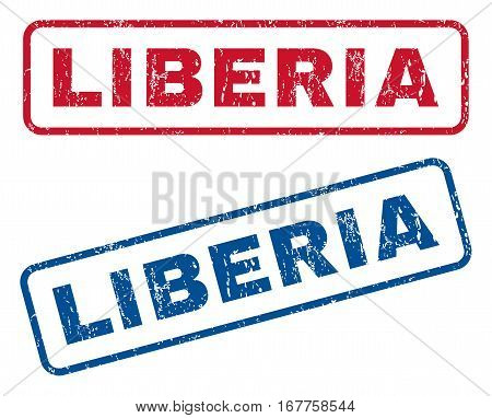 Liberia text rubber seal stamp watermarks. Vector style is blue and red ink caption inside rounded rectangular banner. Grunge design and dirty texture. Blue and red signs.