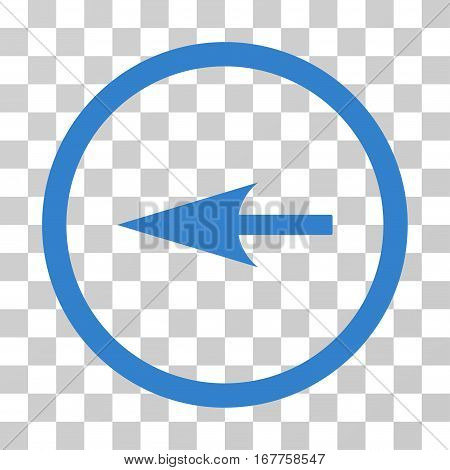 Sharp Left Arrow rounded icon. Vector illustration style is flat iconic symbol inside a circle, cobalt color, transparent background. Designed for web and software interfaces.