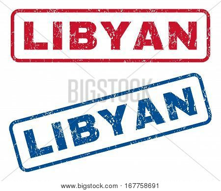 Libyan text rubber seal stamp watermarks. Vector style is blue and red ink caption inside rounded rectangular shape. Grunge design and dirty texture. Blue and red signs.