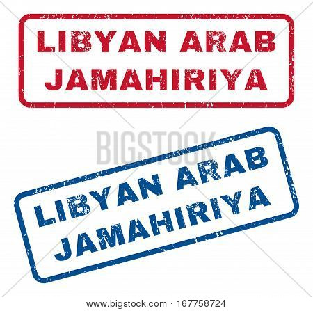 Libyan Arab Jamahiriya text rubber seal stamp watermarks. Vector style is blue and red ink tag inside rounded rectangular shape. Grunge design and scratched texture. Blue and red signs.
