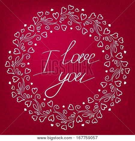 vector round hand drawing frame swirl with hearts lettering I love you whorl pattern on background