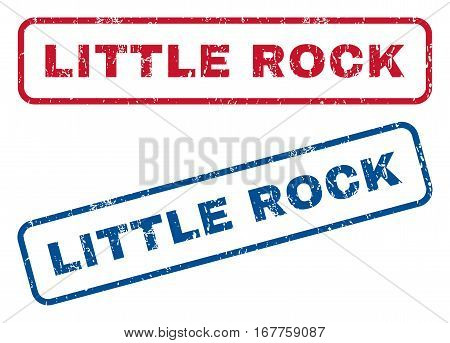 Little Rock text rubber seal stamp watermarks. Vector style is blue and red ink tag inside rounded rectangular shape. Grunge design and dirty texture. Blue and red signs.