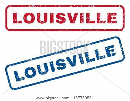 Louisville text rubber seal stamp watermarks. Vector style is blue and red ink tag inside rounded rectangular banner. Grunge design and unclean texture. Blue and red stickers.