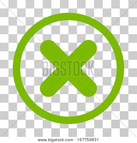 Cancel rounded icon. Vector illustration style is flat iconic symbol inside a circle, eco green color, transparent background. Designed for web and software interfaces.