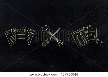 Fixing Your Resume, Cv Papers With Wrench & Screwdriver