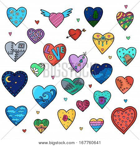 Set of vector sketch hearts isolated on white