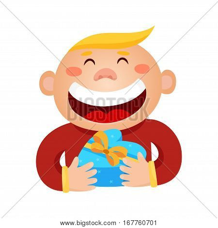 Vector illustration of a boy holding a gift in a wrapped heart-box isolated on white. Valentines days card.