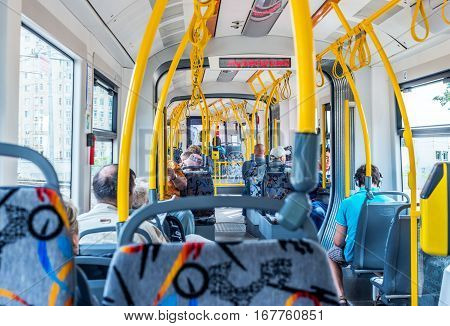 Moscow Russia - July 6 2016: the Interior of a modern tram in Moscow.