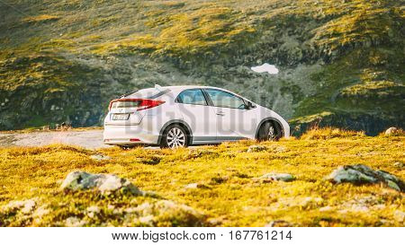 Borgund, Norway - August 1, 2014: Honda Civic Car On Norway Nature Mountains Landscape.
