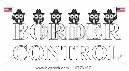 Comical USA border control with custom officials isolated on white background