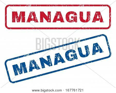 Managua text rubber seal stamp watermarks. Vector style is blue and red ink tag inside rounded rectangular banner. Grunge design and unclean texture. Blue and red signs.