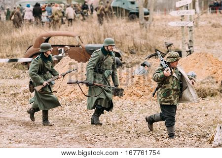 Gomel, Belarus - November 26, 2016: Reconstruction of Battle during events dedicated to Celebration of 73rd anniversary of liberation of Gomel from Nazi Invaders