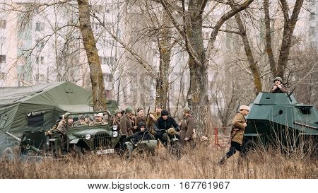 Gomel, Belarus - November 26, 2016: Unidentified Re-enactors Dressed As Russian Soviet Infantry Soldiers Of World War II At Celebration of 73rd anniversary of liberation of Gomel from Nazi Invaders