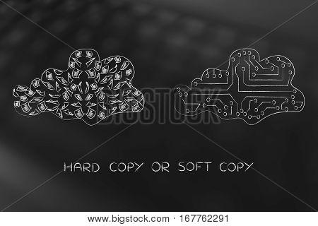 Cloud Of Papers Vs Digital Cloud