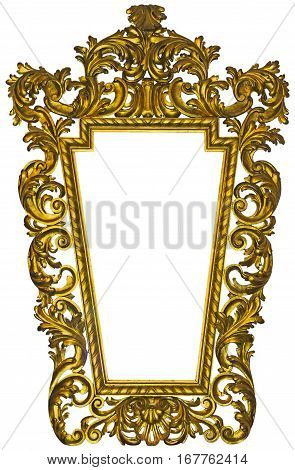 Antique gilded wooden Frame Isolated on white background