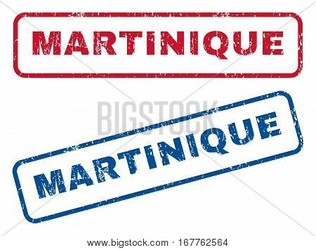 Martinique text rubber seal stamp watermarks. Vector style is blue and red ink caption inside rounded rectangular banner. Grunge design and unclean texture. Blue and red emblems.
