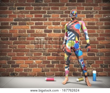 Body painting with spray cans and brick wall background