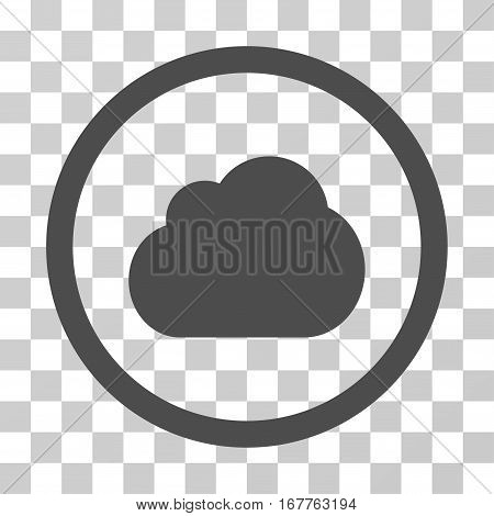 Cloud rounded icon. Vector illustration style is flat iconic symbol inside a circle, gray color, transparent background. Designed for web and software interfaces.