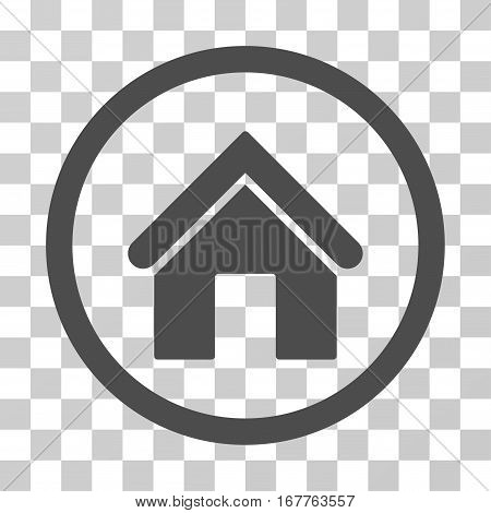Home rounded icon. Vector illustration style is flat iconic symbol inside a circle, gray color, transparent background. Designed for web and software interfaces.