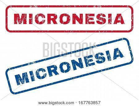 Micronesia text rubber seal stamp watermarks. Vector style is blue and red ink caption inside rounded rectangular banner. Grunge design and unclean texture. Blue and red signs.