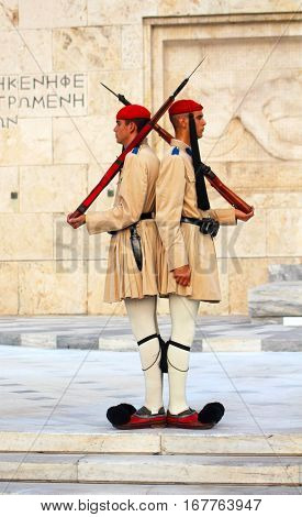 ATHENS GREECE - SEPTEMBER 07, 2013: Changing guards near parliament in Athens, Greece