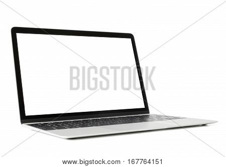Laptop computer with white screen on white background
