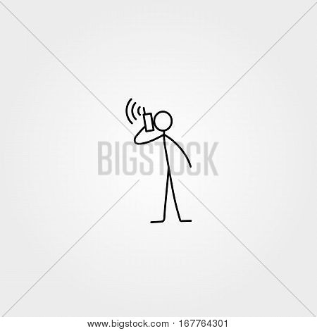 Stick figure icon vector man talking by the phone