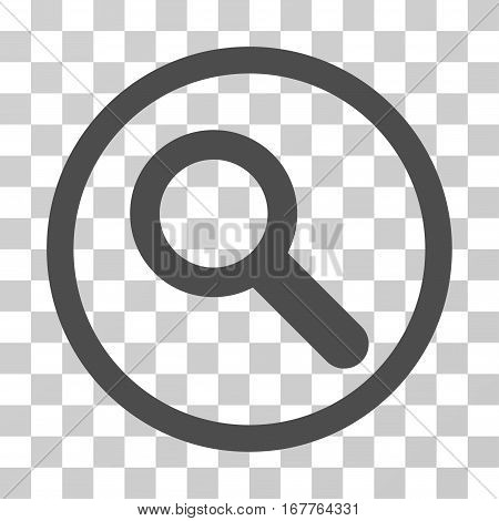 Search rounded icon. Vector illustration style is flat iconic symbol inside a circle, gray color, transparent background. Designed for web and software interfaces.